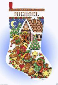 cross stitch gingerbread stocking